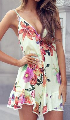Floral romper for the summer . women fashion outfit clothing style apparel @roressclothes closet ideas