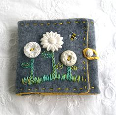Needlecase with Vintage Buttons and Embroidery.