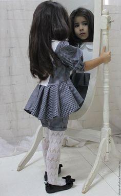 Костюм для девочки - белый, гусиная лапка, комбинированный, современный стиль, современный, стильный, актуально
