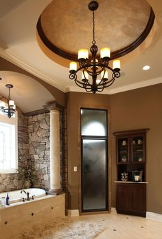 Coffee bar in the bathroom- what a fine way to begin your mornings! I would never have this, but what a dream!