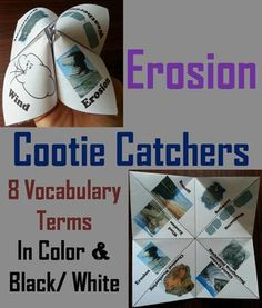 These cootie catchers are a great way for students to have fun while learning about erosion, and build their erosion vocabulary. These cootie catchers contain the following vocabulary terms on Erosion: