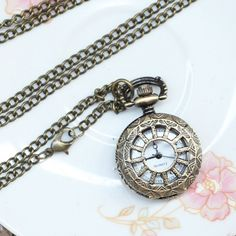 kilala clock pendant necklace- this would look great with orange or any color! #shopruche