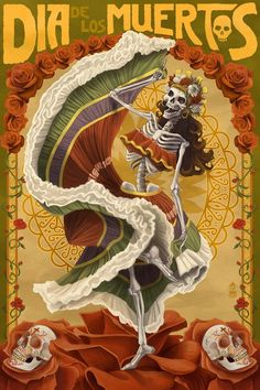 Dia De Los Muertos - Skeleton Dancing - Day of the Dead - Lantern Press Artwork Giclee Art Print, Gallery Framed, Espresso Wood), Multi La Catarina Tattoo, Los Muertos Tattoo, Art Chicano, Chicano Tattoos, Dessin Old School, Tatto Old, Skeleton Dance, Skeleton Girl, All Souls Day