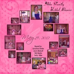 "First bridal shower for my niece hosted by the ""Abbe"" side of the family. Wedding Scrapbook Pages, Bridal Shower Scrapbook, Diy Scrapbook, Scrapbook Albums, Wedding Photo Albums, Wedding Album, Wedding Book, Scrapbook Page Layouts, Scrapbooking Ideas"
