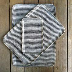Linen Tray: Grey Thin White Stripe