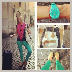 Adorable vegan blogger Leslie Durso travels in style with My Other Bag Madison Carry-All in Italy!