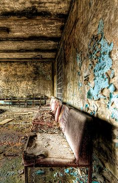 Seats in hospital waiting area, Pripyat, Ukraine. The town that the Chernobyl workers lived in with their families.