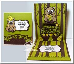Beary Happy Birthday created by Frances Byrne using Honey the Bear; Party Props; Katie Label Pivot; Katie Label Accordion; Outdoor Edges; Happy Birthday Pop-Up; Agatha Edges; Evergreen Pivot (present) - designed by Karen Burniston for Elizabeth Craft Designs