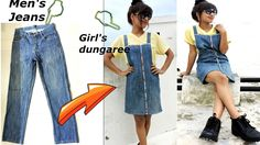 DIY: Convert/Reuse old Men's Jeans into girls DUNGAREE DRESS/ DUNGAREE SKIRT - YouTube