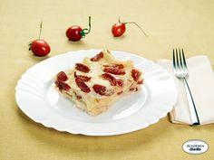 Lasagne con pomodorini ciliegia, mozzarella e origano