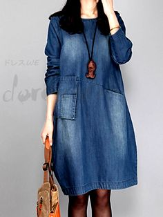 Dresses for Women, Cheap Summer Dresses 2017 & Casual Clothes- page 19 Women's Fashion Dresses, Hijab Fashion, Casual Dresses, Casual Outfits, Womens Denim Dress, Dress Shirts For Women, Denim Fashion, Boho Fashion, Womens Fashion