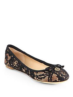 Tory Burch Chelsea Lace-Covered Silk Ballet Flats