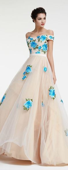 Champagne blue embroidered prom dresses long ball gown prom dress floral prom dresses off the shoulder pageant dresses princess quinceanera dresses Cheap Gowns, Cheap Prom Dresses, Pageant Dresses, Quinceanera Dresses, Homecoming Dresses, Floral Prom Dresses, Nice Dresses, Formal Dresses, Dresses Uk