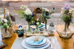 #Hochzeit: #Dekoration mit blauen Details