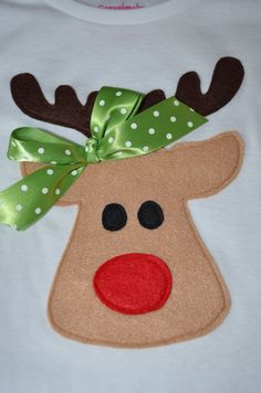 Items similar to Reindeer applique shirt with bow on Etsy Xmas Shirts, Christmas Shirts, Christmas Projects, Christmas Themes, Holiday Crafts, Christmas Stockings, Christmas Sweaters, Christmas Crafts, Christmas Decorations