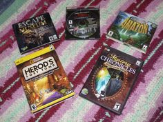 """FIVE ~  PC CD-ROM HIDDEN OBJECT GAMES used Rated """"E"""" & """"T"""""""