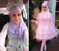 """""""Müslüman Lolita"""" modasının öncüleri Noor ve Alyssa Style Lolita, Mode Lolita, Gothic Lolita, Harajuku Fashion, Lolita Fashion, Tokyo Fashion, Modest Fashion, Fashion Outfits, Otaku"""