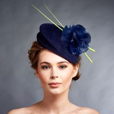 Ladies Formal Hat Turkey Feather Flower Lime Quills