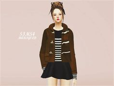 Female duffle coat at Marigold via Sims 4 Updates