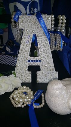 Pearlz Wooden Letter for Zeta Phi Beta 65th Birthday, Birthday Parties, Greek Crafts, Divine Nine, Delta Sigma Theta, Sorority Crafts, Sorority And Fraternity, Paddles, Greeks