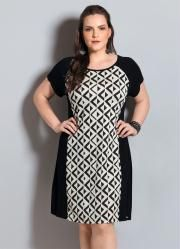 Vestido Geométrico (Preto e Branco) Plus Size