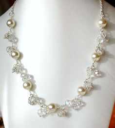 Ivory Pearl Wedding Jewelry   Pearl Wedding Necklace Bridal Jewelry Ivory Pearls And Crystal Wedding ...