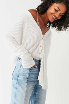 Out From Under Jojo Oversized Thermal Button-Front Top | Urban Outfitters | Women's | Loungewear | Lounge Tops #UOEurope #UrbanOutfittersEU