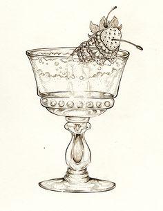 Vintage Cocktail Illustration, Art by: Ellie Lukova Ink drawing of a cocktail glass and fruit garnish www.ellielukova.com https://www.facebook.com/ellie.lukova/