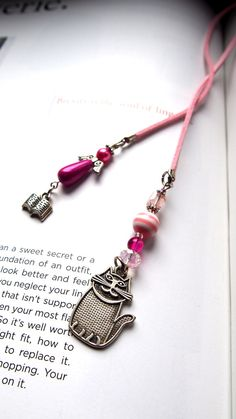Pink Bookmark Beaded Book Thong with Angel Watching Over You and Cat - Beaded Book Thong, Marque page, Readers gift, Teens gift