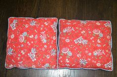 """Pierre Deux Pillows Set of Two 14"""" by 14"""" Red Floral Pattern Charming 