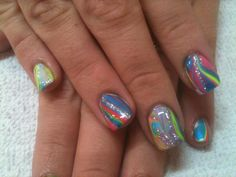 Neon water Marble nail design by Tish