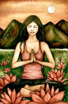yoga art print by Claudia Tremblay water by PrintIllustrations