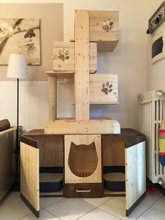 Wodden Cat Tree w/ double litter box cubby. Made by RS Legno Lab on facebook