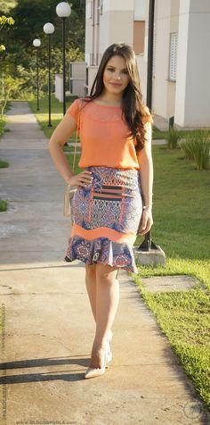 Blog da Paola: Look do Dia: Blusa Renda no Ombro + Saia Sino (Loja Thais Rodrigues)
