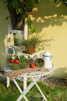 Fundstücke mit Stil: Kürbis gehäkelt /Filzrose / Herbstdeko