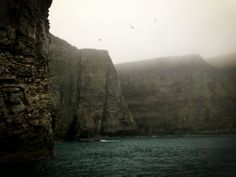 The Cliffs of Noss  Photo by Andrew Evans, National Geographic Traveler  Towering up to 600 ft above the sea, the layered stone cliffs of Noss provide invaluable nesting habitat for seabirds like the northern gannet and guillemot, while puffin burrows abound at the top.