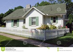 stucco house picket fence - Google Search
