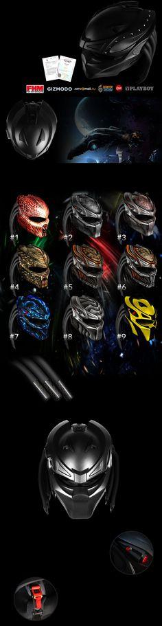 The Predator Original helmet Predator Costume, Predator Helmet, Alien Vs Predator, Custom Motorcycle Helmets, Motorcycle Gear, Motorcycle Accessories, Cool Motorcycles, Harley Davidson Motorcycles, Womens Bike Helmet