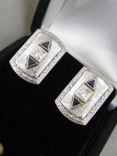 Platinum & 14k yellow gold Art Deco diamond & blue sapphire cufflinks c.1920′s