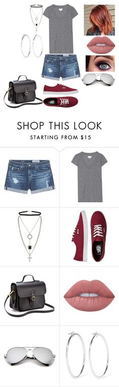 """""""Untitled #728"""" by nerdynerdy on Polyvore featuring AG Adriano Goldschmied, Velvet, Miss Selfridge, Vans, The Cambridge Satchel Company, Lime Crime and Jennifer Fisher"""