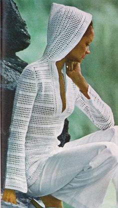 Vintage Crochet Hooded hoodie pullover~ PDF Pattern. via Etsy.