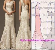 Molde vestido Granola granola or oats Wedding Dress Patterns, Dress Sewing Patterns, Clothing Patterns, Wedding Dresses, Fashion Sewing, Diy Fashion, Ideias Fashion, Diy Clothing, Sewing Clothes