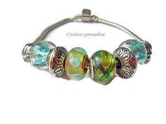 Bracelet charm européen printanier vert : Bracelet par couleur-grenadine33