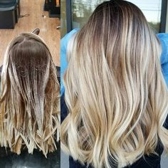 Balayage Application and After. I used Blacklight Balayage clay lightener and extra light blonde and toned with PM SHINES and… Balayage Hair Brunette Short, Light Blonde Hair, Light Hair, Light Blonde Balayage, Light Blonde Highlights, Short Blonde, Ombre Hair Color, Hair Color Balayage, Balayage Hair Tutorial