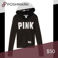 Pink Perfect Full Zip Hoodie New in bag. Black, Full zip hoodie. Silver lining on hood. Price is firm. PINK Victoria's Secret Tops Sweatshirts & Hoodies