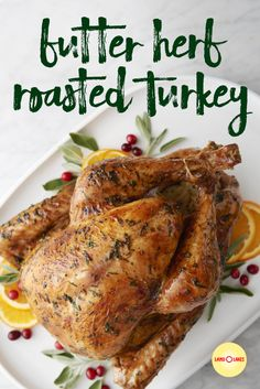 """Butter Herb Roasted Turkey The secret to a moist, deliciously golden brown turkey is basting with dry white wine and butter. Obviously, we're struggling with the whole """"secret"""" part. Whole Turkey Recipes, Roast Turkey Recipes, Stuffing Recipes, Turkey In Oven, Cooking Turkey, Turkey Rub, Turkey Brine, Basting A Turkey, Turkey Baste Recipe"""