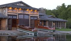 Exterior - traditional - exterior - minneapolis - by Marie Meko, Allied ASID Water House, Boat House, Boat Garage, Florida Holiday, Charter Boat, House By The Sea, Traditional Exterior, Boat Stuff, Floating House