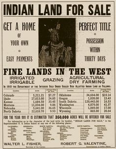 "Come Buy ""Indian Land"" that the white men stole from the INDIANS.....This Deed put our Country to SHAME....."