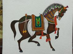 Miniature Art Horse Painting By Khushboo Kothari - Miniature Art Horse Is A Painting By Khushboo Kothari Which Was Uploaded On January Th The Painting May Be Purchased As Wall Art Home Decor Apparel Phone Cases Greeting Cards And More Al Mughal Paintings, Tanjore Painting, Indian Art Paintings, Phad Painting, Rajasthani Painting, Motifs Animal, Indian Folk Art, India Art, Turkish Art