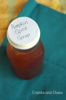 D.I.Y. Pumpkin Spice Syrup for Pumpkin Spice Lattes - Crumbs and Chaos #pumpkin #coffeesyrup   www.crumbsandchaos.net